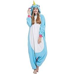 Pijama Unicornio Kigurumi Onesie Adultos Mujer Cosplay Animal Disfraces Azul M
