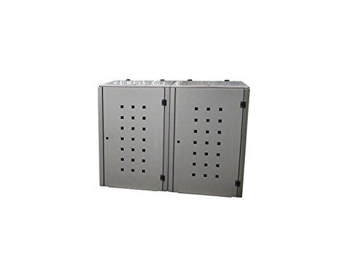 Mülltonnenbox Edelstahl, Modell Eleganza Quad6, 240 Liter als Zweierbox