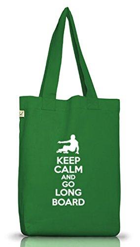Keep Calm And Go Longboard, Skateboard Jutebeutel Stoff Tasche Earth Positive (ONE SIZE) Moss Green