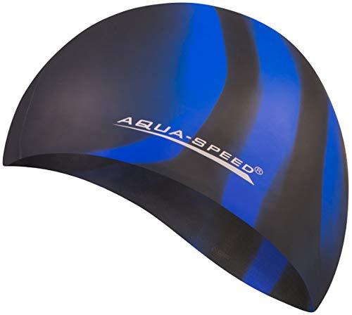 Aqua Speed® Set - BUNT Badekappe + Kleines Mikrofaser Handtuch | Silikon | Bademütze | Badehaube | Schwimmhaube | Erwachsene | Damen | Herren | Kinder, Kappen Designs:41. Bunt / 39