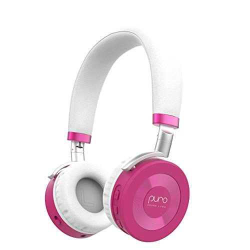 JuniorJams Volume Limiting Headphones for Kids 3+ Protect Hearing - Foldable & Adjustable Bluetooth Wireless Headphones for Tablets, Smartphones, PCs - 22-Hour Battery Life by Puro Sound Labs, Pink -