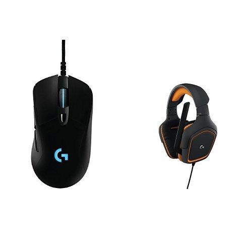 Logitech G403 Prodigy Mouse per Giochi Ottico, con Cavo, 12.000 DPI, per PC, MAC, USB, Nero + G231 Prodigy Gaming Cuffie con Microfono, per PC, PS4 e Xbox