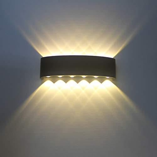 Lampe Murale LED Moderne Appliques Murales IP65 Étanche Applique Luminaire En Aluminium Up Down Décoratif Spot Lumière Nuit Lampe pour Salon Chambre Hall Escalier Pathway (12W)