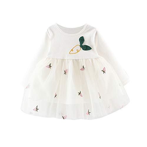 Alwayswin Baby Mädchen Langarm Tüll Kleider Kleidung Print Patchwork Mesh-Kleid Süß Mode Prinzessin Kleider Elegant Freizeit T-Shirt Kleid Bequem Wild A-Linien Kleid Festliches Kostüm