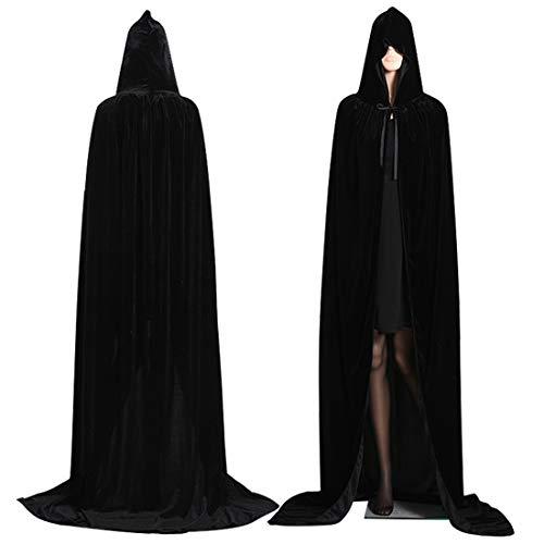 Mitef Unisex Hooded Cloak Robe Long Witch velvet Cape Halloween Cosplay Black Medium