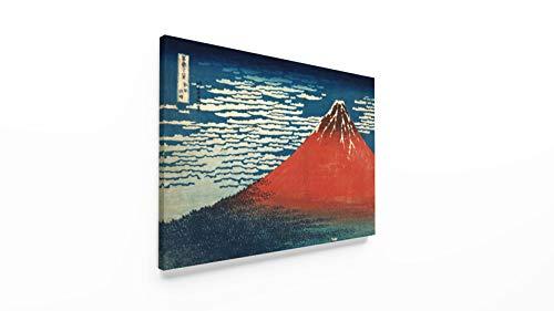 Panorama® quadro su tela canvas hokusai red fuji clear sky vulcano 70x50cm | stampa su tela telaio alta qualità | quadri moderni soggiorno | stampe moderne vintage | decorazione parete giapponese