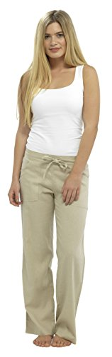 LADIES WOMENS LINEN CASUAL TROUSERS WITH POCKETS
