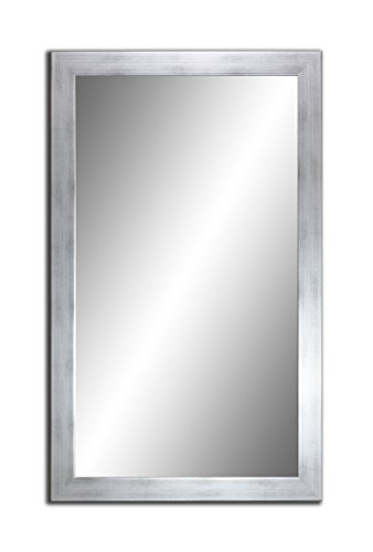 Spiegel MIT Rahmen 32 GRÖßEN 80/60, 60/80cm, 11 Farben Rahmen, Handgefertigte, breiter Fester Rahmen, Stabiler Rückwand, Rahmenleiste: 60x20mm, Rahmen Farbe: Silber