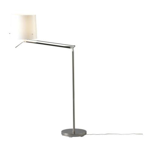 IKEA SAMTID - Piso / lámpara de lectura, niquelado, blanco