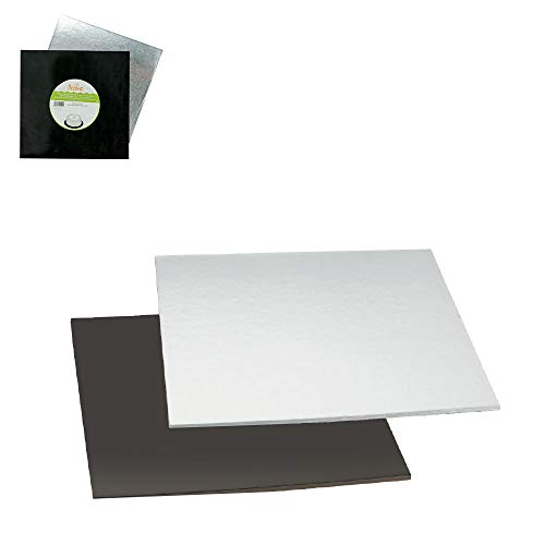 Decora Plat à Cake, Noir/Argent, Carton, Black/Silver, 24 x 24 cm