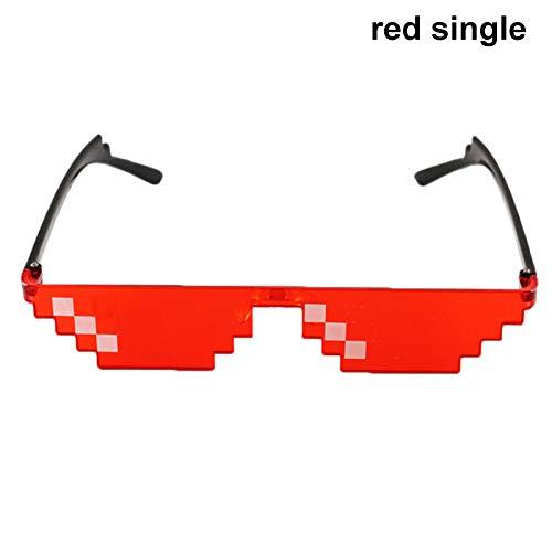 Delisouls Thug Life Sonnenbrille, MLG Pixel, Mosaik-Sonnenbrille, Party, lustiges Vintage-Spoof Eye Wear Foto Requisiten Brille Spielzeug für Männer und Frauen Red Single