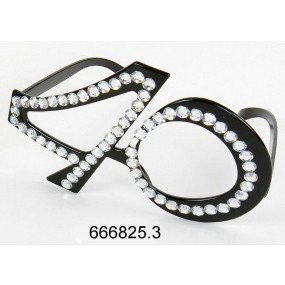 Occhiali a forma di numero 40 con applicazioni in strass, in plastica, all'ultima moda