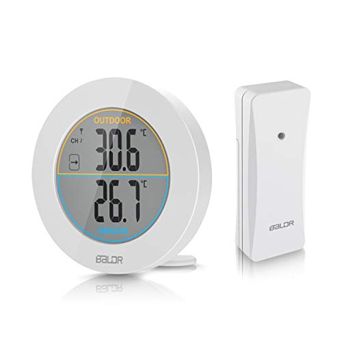HOCOSY LCD Digital In & Out Thermometer Wireless Temperature Meter Sensor Max/Min Weiß