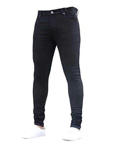 Jeans Da Uomo Skinny Elasticizzati Slim Pantaloni Leggeri Comodi Nero L