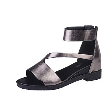 LvYuan Sandalen-Outddor Kleid Lässig-Kunstleder-Flacher Absatz-Komfort Mary Jane Gladiator Leuchtende Sohlen-Schwarz Weiß Grau gray