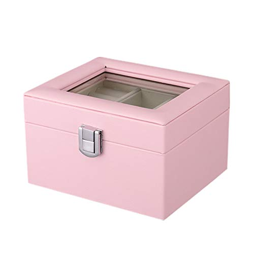 Hbwz Jewellery Box Organizer mit großem Spiegel und Retro-Sperre - PU-Leder Frauen, Mädchen,Pink -