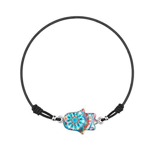 Made by Nami Armband Frauen Freundschaftsarmband Armbänder - Surfer Schmuck Damen mit Anhänger Hamsa Hand (Hellblau/Rot)