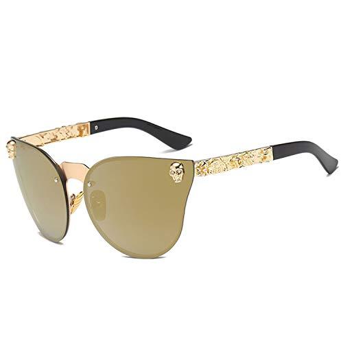 Fashion Damen Gothic Sonnenbrille Totenkopf Rahmen Metall Sonnenbrille Gr. Einheitsgröße, C2-gold-gold