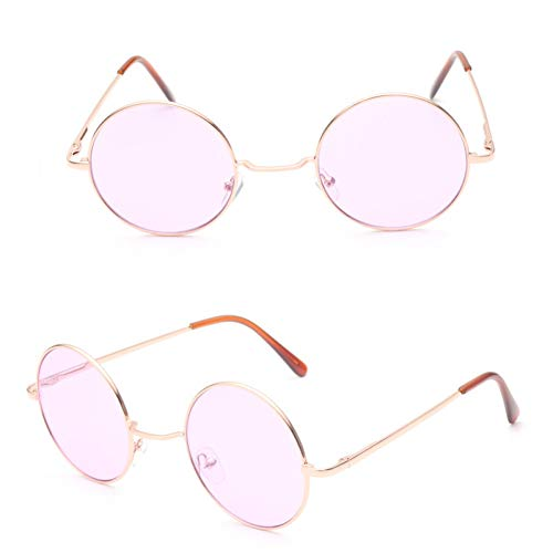 YOGER Sonnenbrillen Retro Hippie Metal Lennon Runde Sonnenbrille Damen Metallrahmen Kreis Runde Getönte Brillengläser Super Hippie Chic Style
