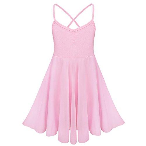 Tiaobug Kinder Mädchen Ballettkleid Ballettanzug Ballett Trikot Kleid mit Chiffon Rock in Weiß Schwarz Rosa Lavender Rosa (Trikots Und Tanz Kostüme)