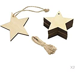 SM SunniMix 20er-Set Holz Sterne Anhänger Etiketten Tags Label Weihnachtsbaumschmuck, DIY Kleiderbügel Karten Scrapbooking usw. Handwerk