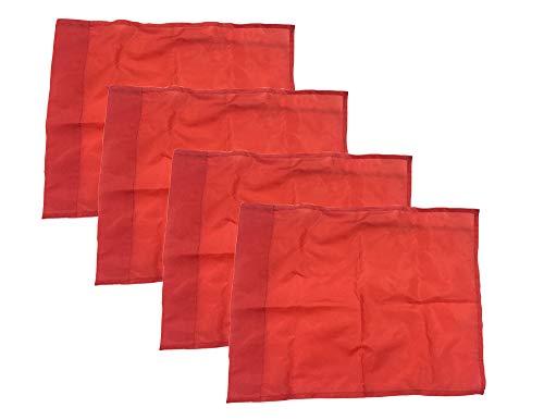 Kosma 4er Set Trainingsecke Fahne | Größe-44x34cm| |Farbe Rot| mit 4 Fahnenhalter Kunststoffklammern - Verpackt in Tragetasche