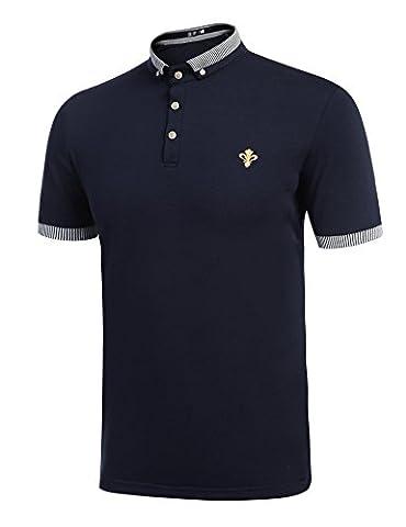COOFANDY Polo T-shirt à Manche Courte Homme Col Boutonnes Rayé