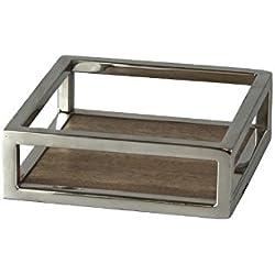 Better & Best 2751068 - Servilletero de madera y metal, cuadrado, 16 x 16 x 5 cm