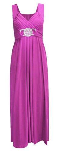 New Womens Plus Size Buckle Gürtel Tie Zurück knielangen Abend Kleid Purple MAxi
