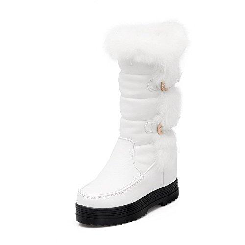 AllhqFashion Damen Weiches Material Rund Zehe Rein Niedrig-Spitze Niedriger Absatz Stiefel, Weiß, 39
