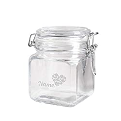 Herz & Heim® Vorratsglas mit Gravur Ihres Wunschnamen - für Kaffee, Kakao oder Zucker Kaffeebohnenherz