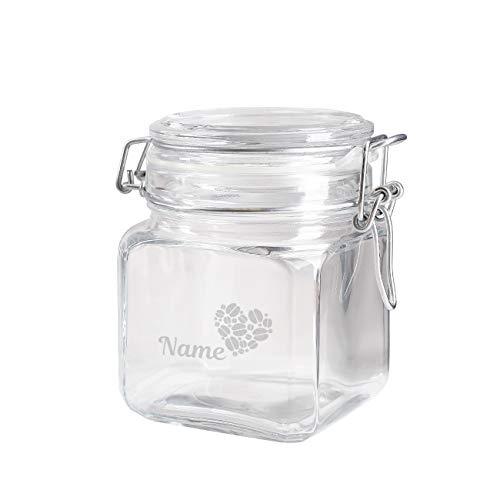 Herz & Heim Vorratsglas mit Gravur Ihres Wunschnamen - für Kaffee, Kakao oder Zucker...