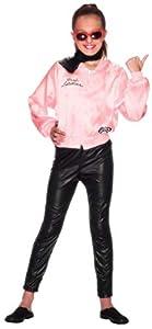 Smiffys-27490L Cantante Licenciado Oficialmente Cazadora de Las Pink Ladies de Grease, Rosa, con Logotipo, Color Rosado, L-Edad 10-12 años (Smiffy