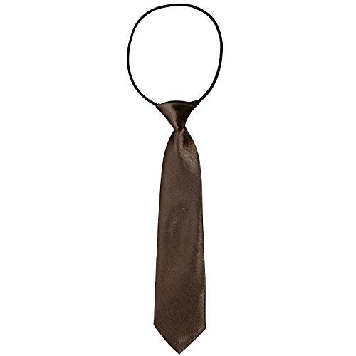DonDon® Kinder Krawatte im Seidenlook glänzend – 7,0 cm breit – mit elastischem Gummiband - braun