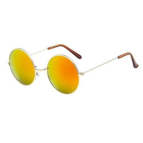 Lazzboy Frauen Männer Vintage Retro Brille Unisex Driving Round Frame Sonnenbrille Eyewear Runde Mit Schmalem Metall Gestell(C)