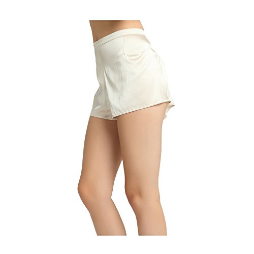 JASMINE SILK Damen Schlafanzughose Monochorme Elegance Short Silky Nights Nackt (Large) - Luxuriöse 400 Thread
