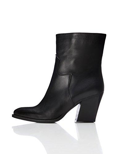 FIND Damen Buck Stiefel, Schwarz (Black), 37 EU (Leder-schuhe 2 Schwarze)