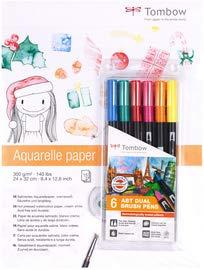 Tombow pb-a-abt6p36ABT Dual Brush Pen e Aquarelle Pad Christmas Bundle set