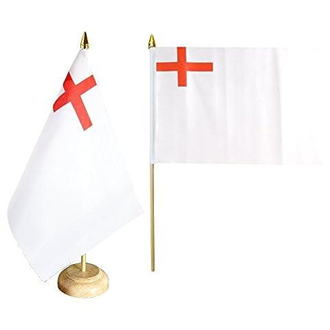 Tischflagge / Tischfahne Großbritannien White Ensign 1630-1702 + gratis Aufkleber, Flaggenfritze®