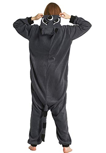 (DATO Pyjama Tier Onesies Grau Waschbär Erwachsene Unisex Cospaly Nachtwäsche für Hohe 140-187CM)