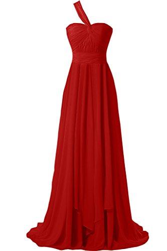 Gorgeous Bride Modisch EIn-Traeger A-Linie Lang Chiffon Abendkleider Cocktailkleid Ballkleider Rot