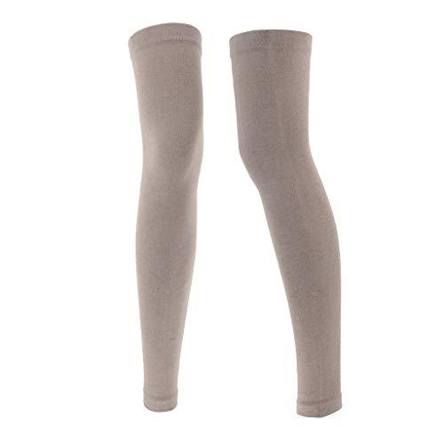 IPOTCH 1 Paar Elastische Knie-Wärmer mit warme Wolle, Verdicken Verlängern Beinwärmer - Leicht gebräunt (Knie-bein-wärmer Über)