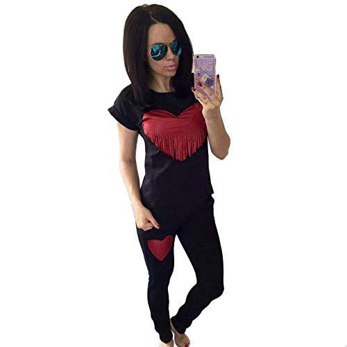 CAOQAO Damen Kurzarm-Shirt mit Fransen-Oberteil(Schwarz,L)