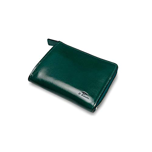 IL BUSSETTO PORTAFOGLIO/ISOLA WALLET Zippato con Soffieto Quattro Tasche per Carte e un Comparto per Banconote Realizzato a mano di pelle conciata al vegetale (evergreen)