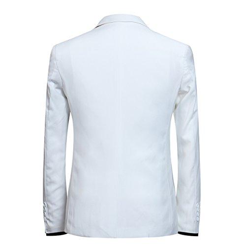 Herren 3-Teilig Slim Fit Anzug Smoking Anzugjacke Hose Weste von Allthemen Weiß