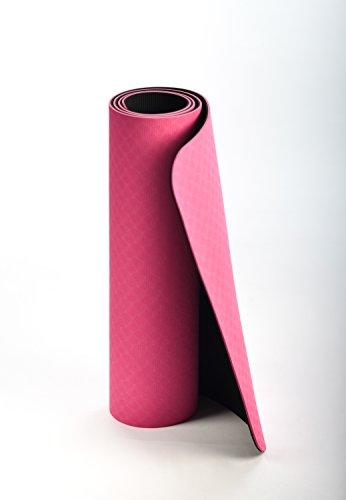 Tappetino Yoga JAS Namaste, con borsa da trasporto, tappetino palestra fitness doppio strato, antiscivolo, eco compatibile, dimensione extra di 183x61, spessore di 6mm, yoga mat ottimo per Pilates.