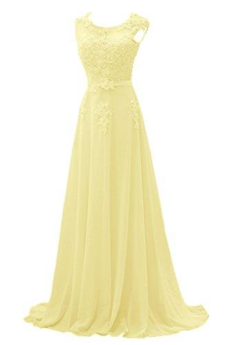 Gorgeous Bride Modisch Lang Rundkragen A-Linie Chiffon Tuell Spitze Schleppe Abendkleider Festkleider Ballkleider -38 Daffodil Abendkleid Gelb
