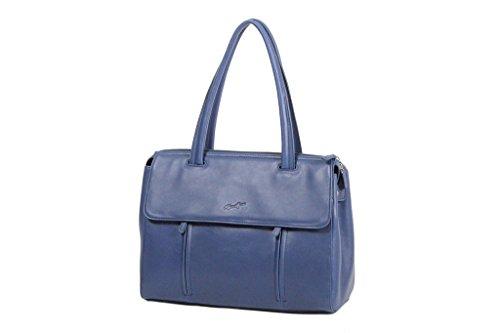 Sac shopping Cabas Gérard Hénon en Cuir de Vachette lisse souple GH13203 Bleu