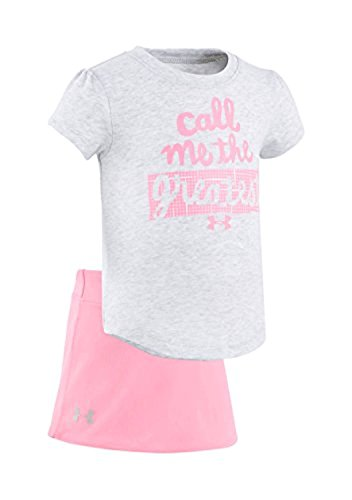Under Armour Baby Girls' Lumos Tee And Shorts 2 Piece Set (18 Months, Airforce Heather (06) / Vivid Pink) (Hi-lo Tee Hem)