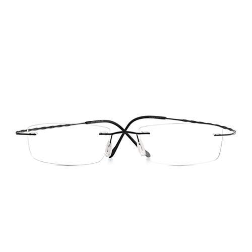 DYFDHA Sonnenbrillen L689 Men Rimless Glasses Frame Women Prescription Eyeglasses Optical Ultralight Vintage Frame Blue Light Blocking Glasses Black Single Version Photo Brown